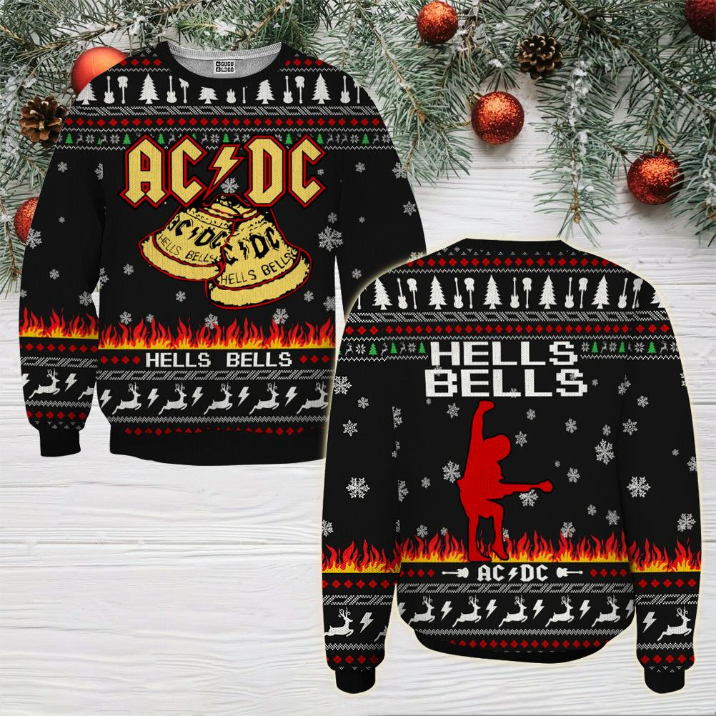 ACDC hells bells ugly christmas sweater - maria