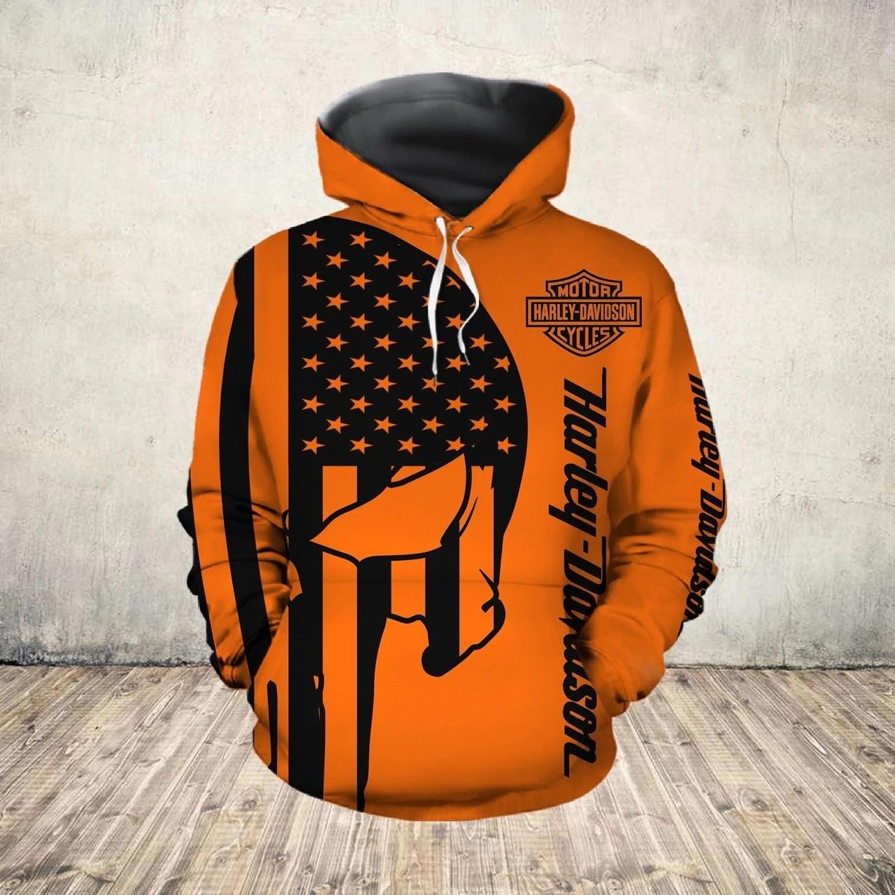 American flag harley-davidson motorcycle skull all over print hoodie