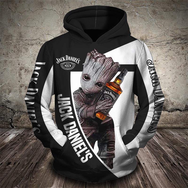 Baby groot hugs jack daniel's 3d full printing hoodie