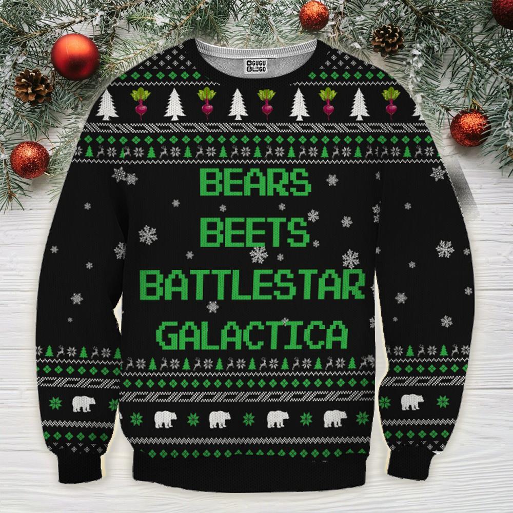 Bears beets battlestar galactica ugly sweater - black