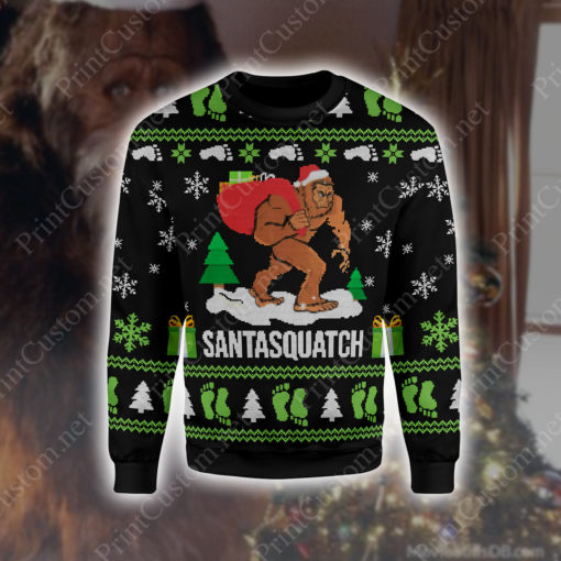 Bigfoot santasquatch 3d ugly christmas sweater - maria