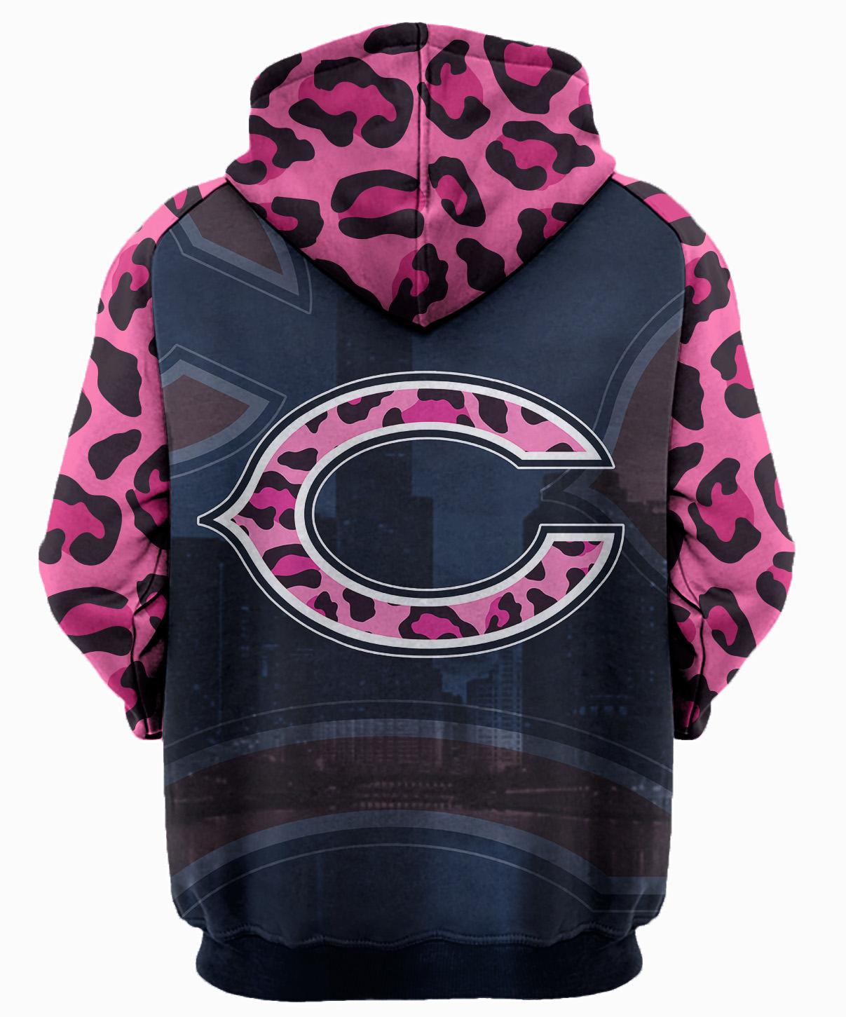 Breast cancer fight like a chicago bears 3d hoodie - back