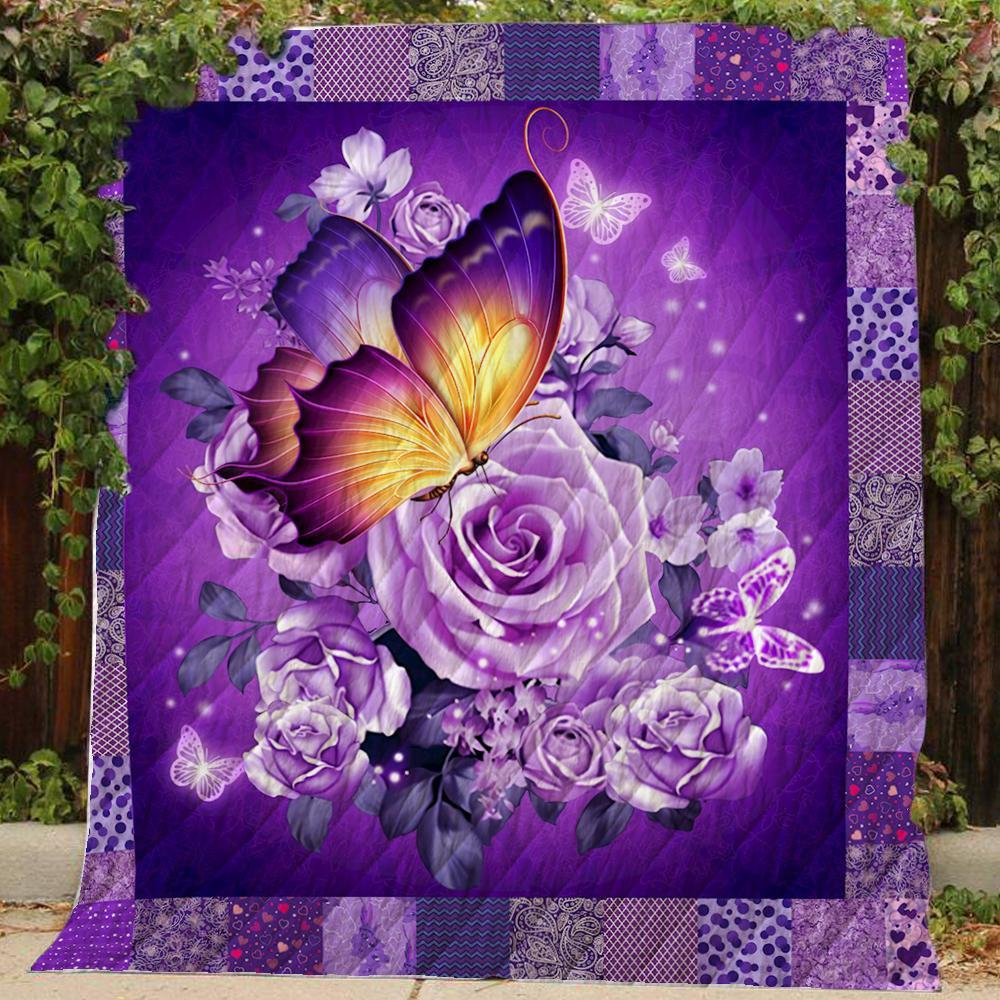 Butterfly and purple flower quilt - maria