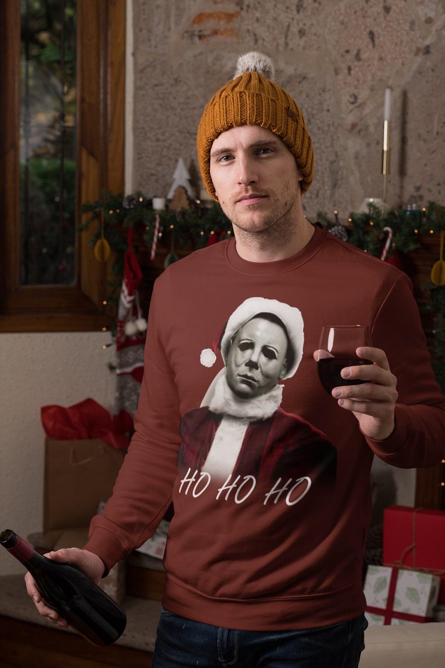 Christmas Michael Myers Santa Hat HO HO HO sweater