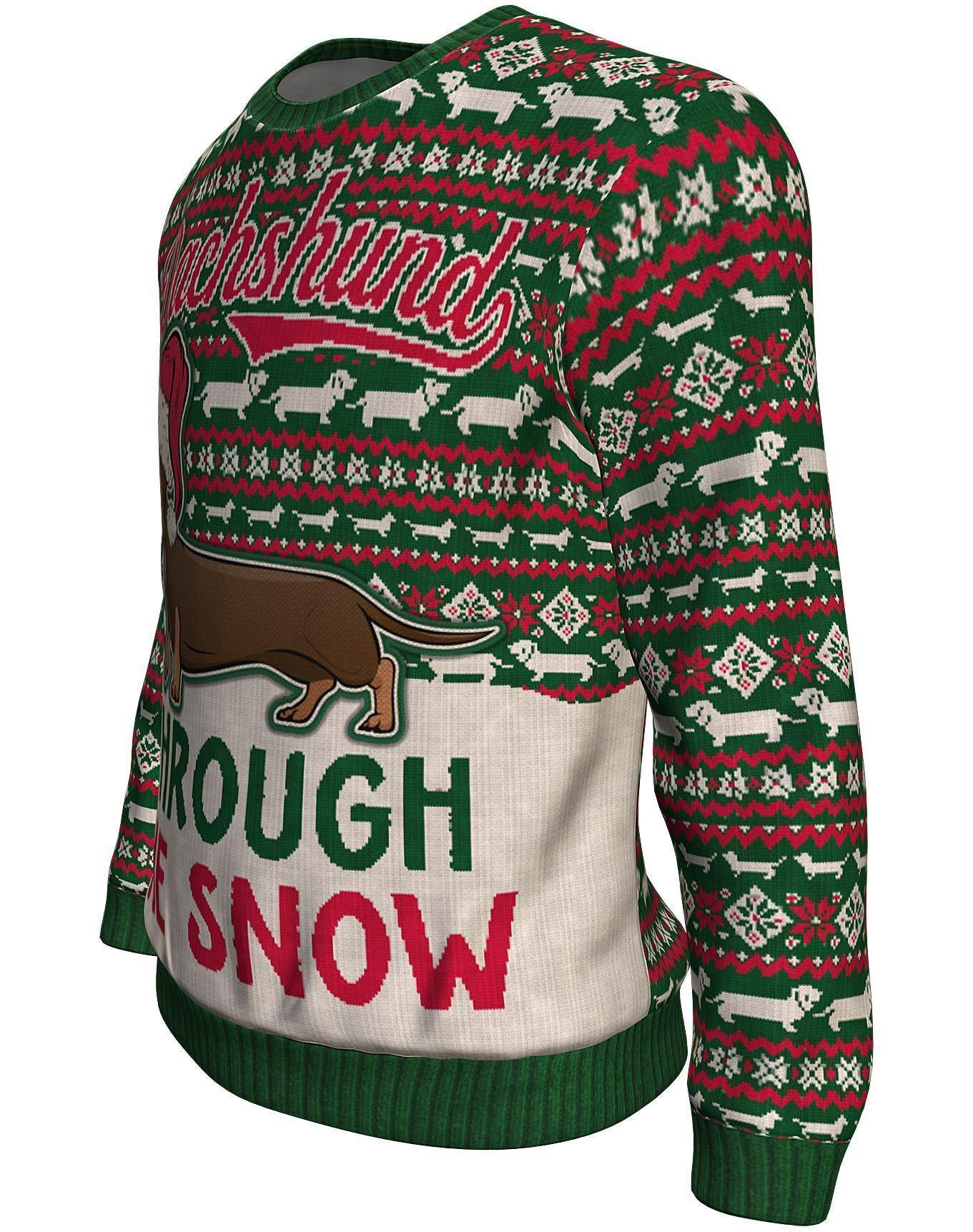 Christmas dachshund through the snow all over print sweater - maria 1