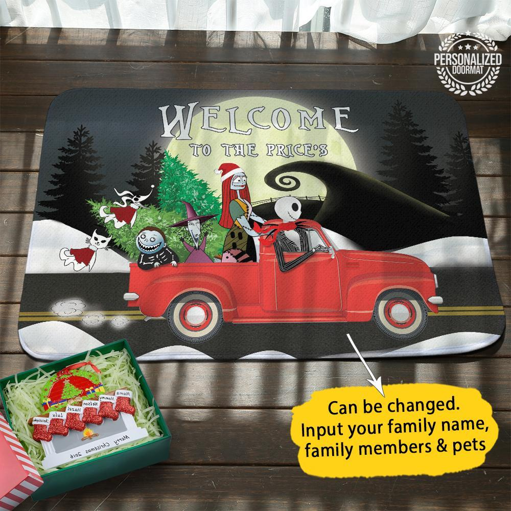 Christmas jack and sally on truck welcome to the robert doormat black- maria