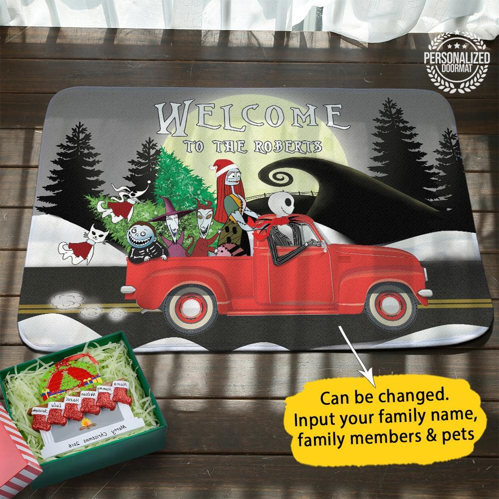 Christmas jack and sally on truck welcome to the robert doormat gray- maria