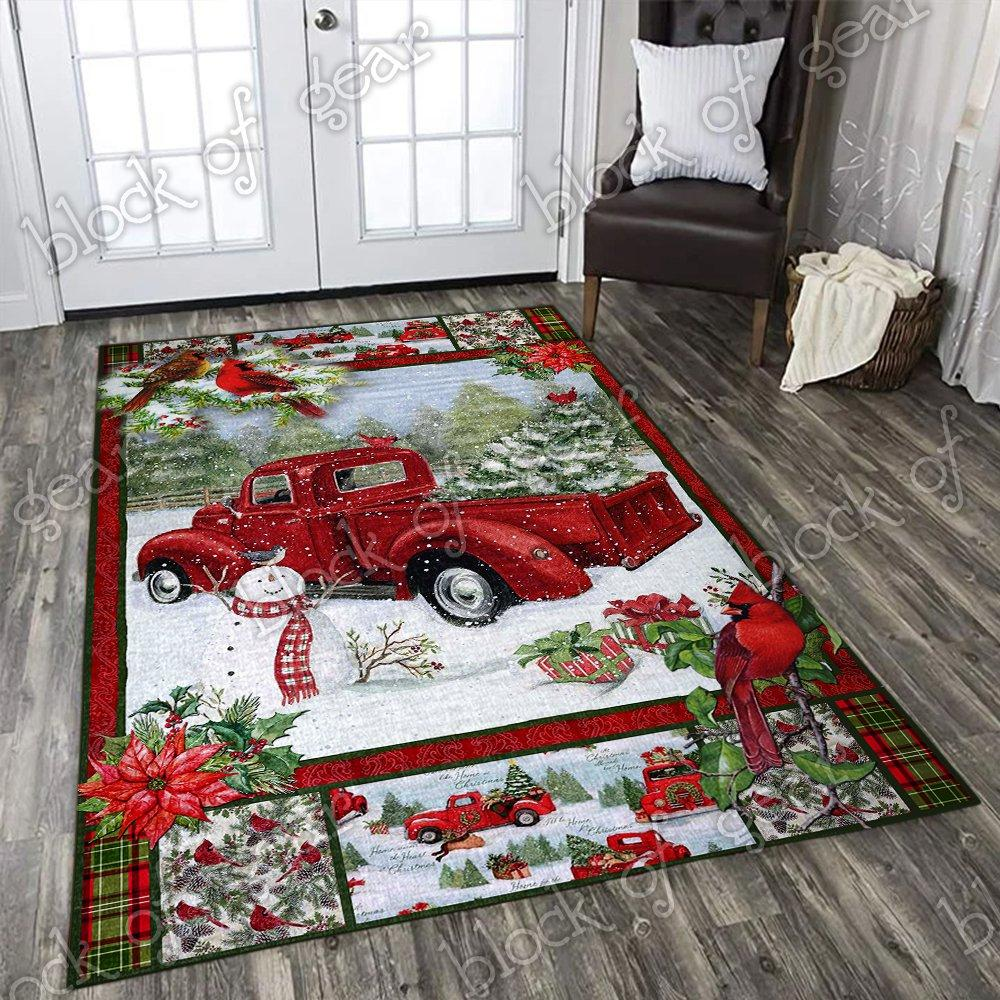 Christmas red truck snowy cardinals living room rug - maria
