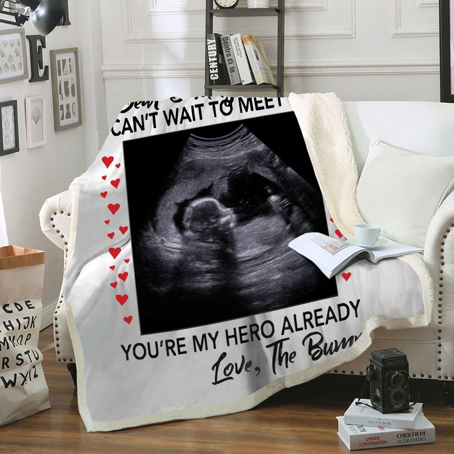 Dear daddy I can't wait to meet you pregnant fleece blanket - maria