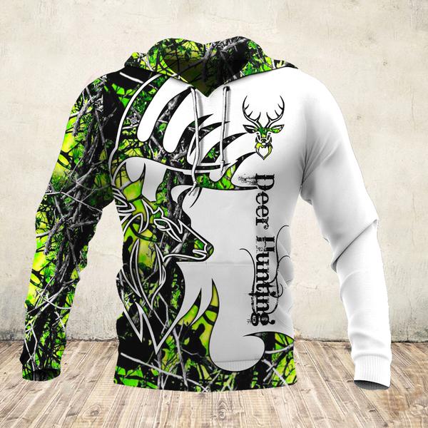 Deer hunter deer hunting neon all over print hoodie - maria