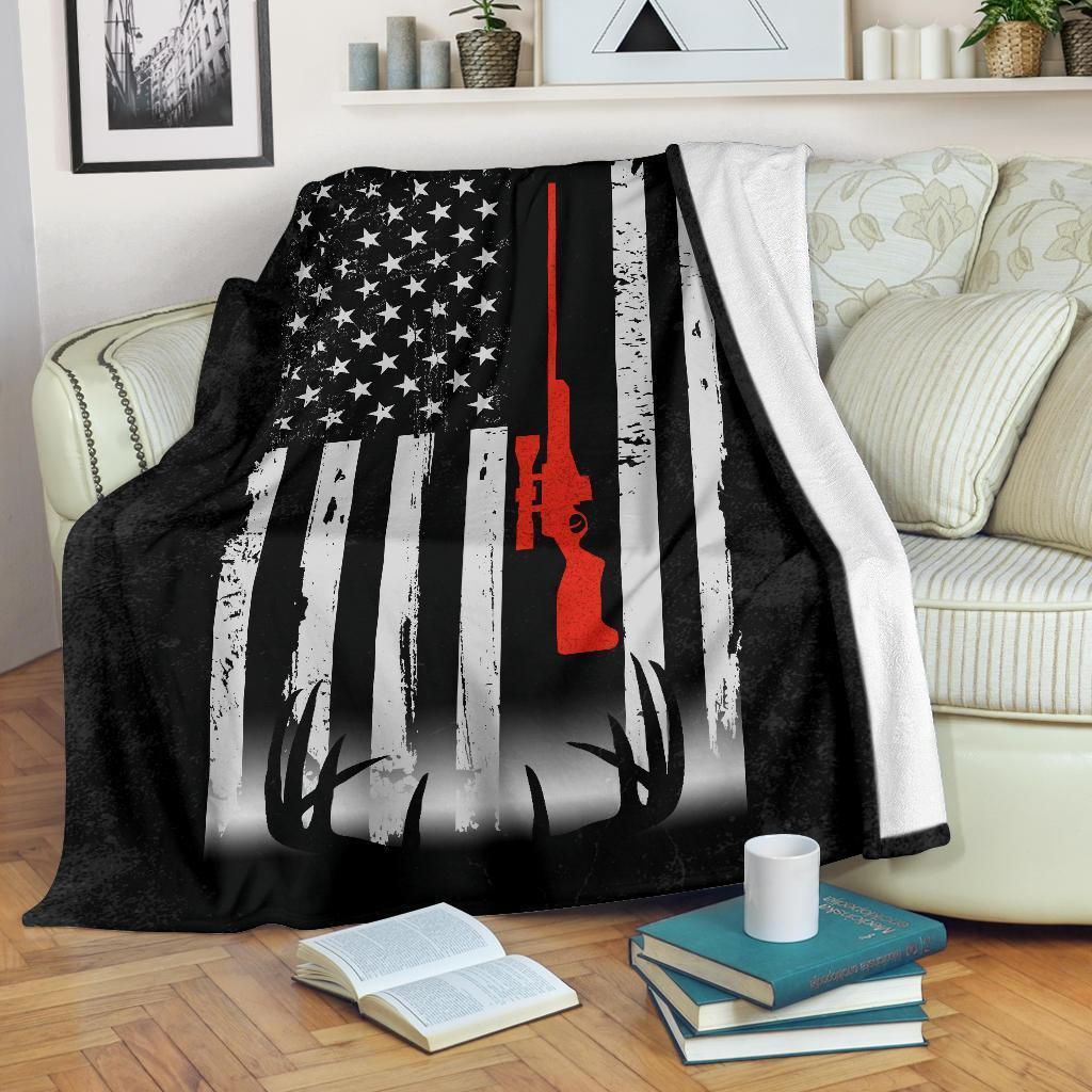 Deer hunting american flag blanket - maria