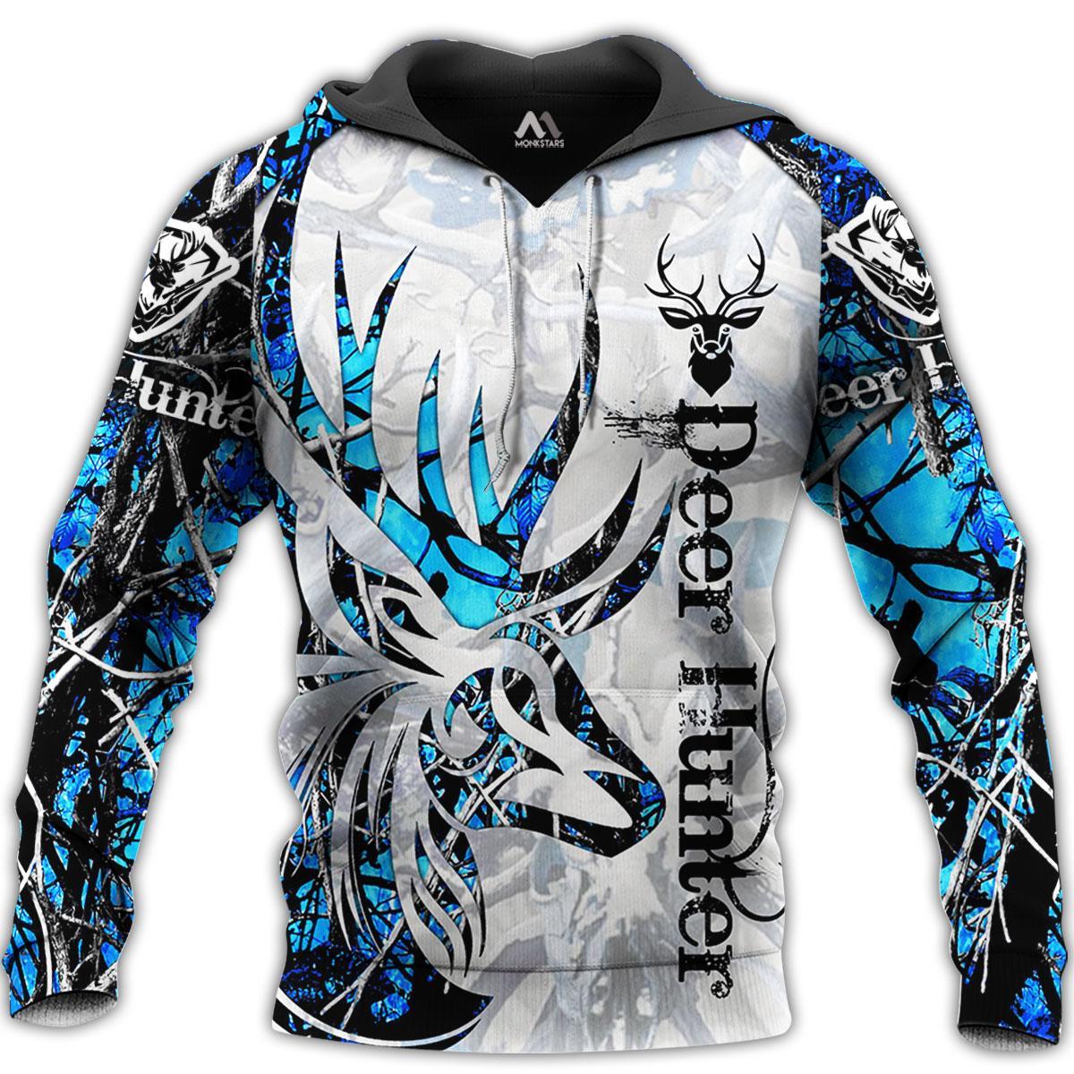 Deer tattoo blue camo 3d all over printed hoodie - maria