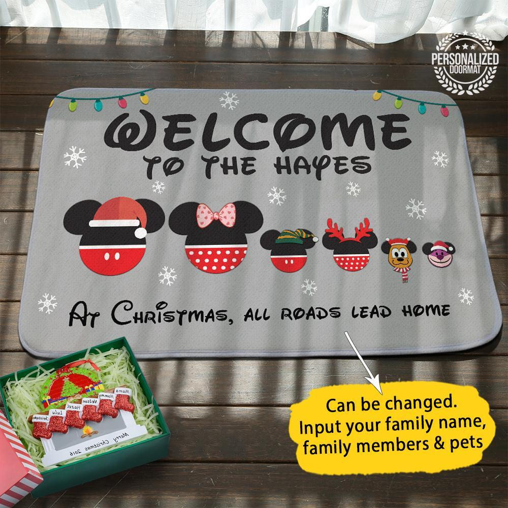 Disney mouse christmas personalized doormat grey- maria