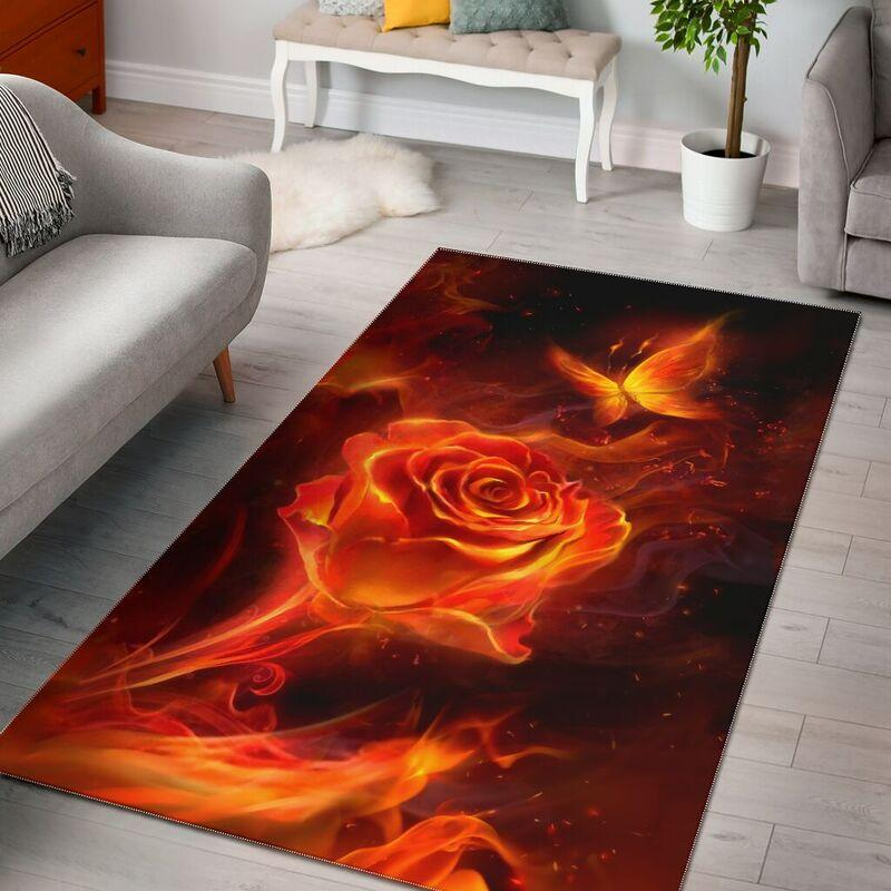 Fiery rose and butterfly rug - maria