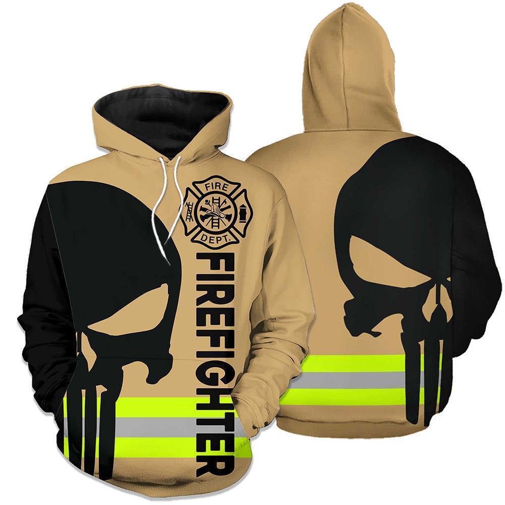 Firefighter skull fire dept 3d hoodie skull green line - maria