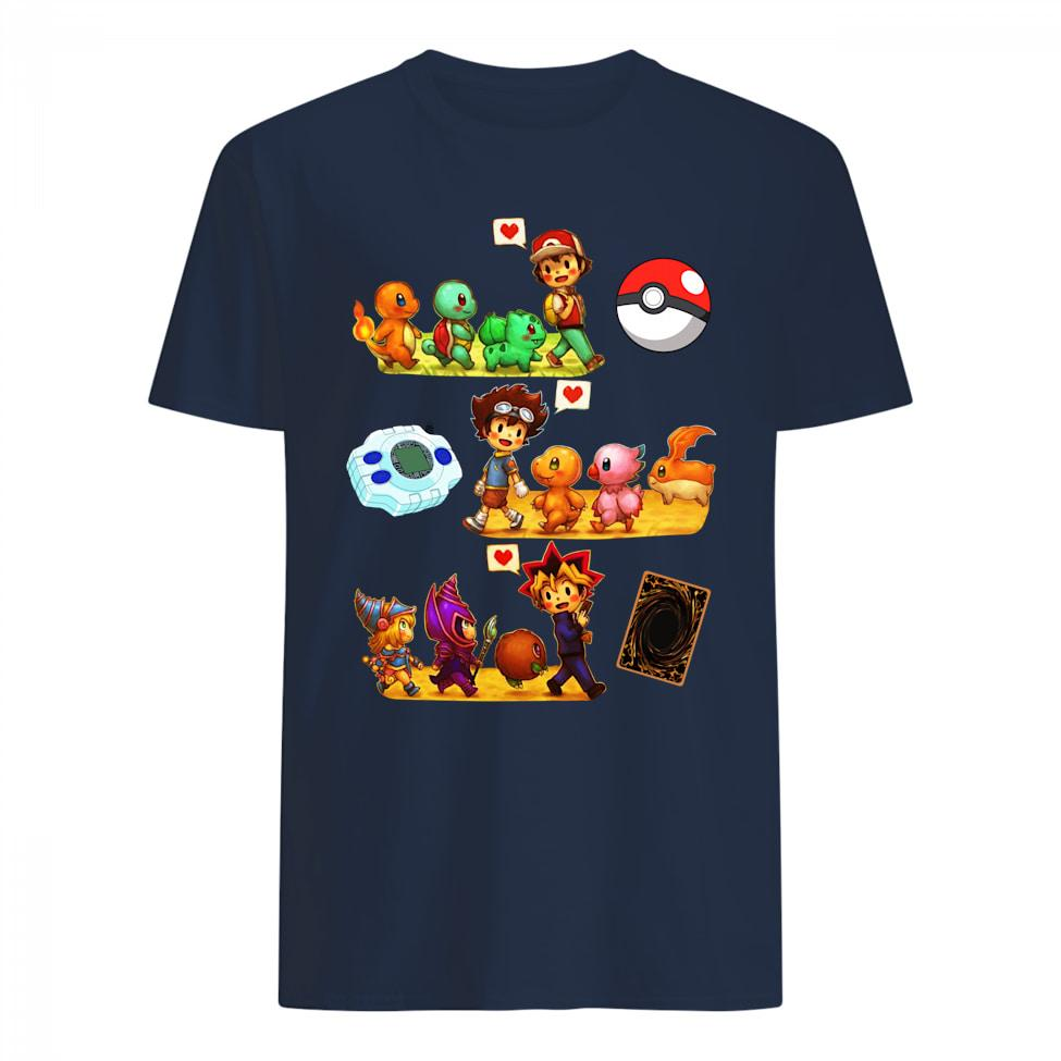 Friends Satoshi Pokemon Yagami Taichi Digimon Yugi Muto Yugioh Shirt