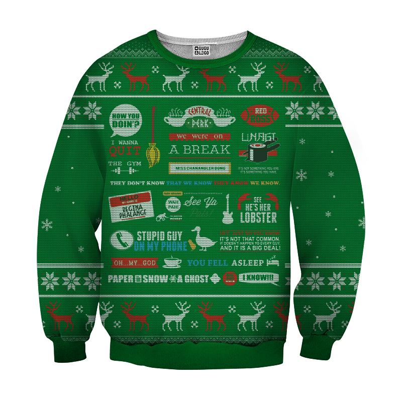 Friends tv show full quotes 3d ugly sweater - green