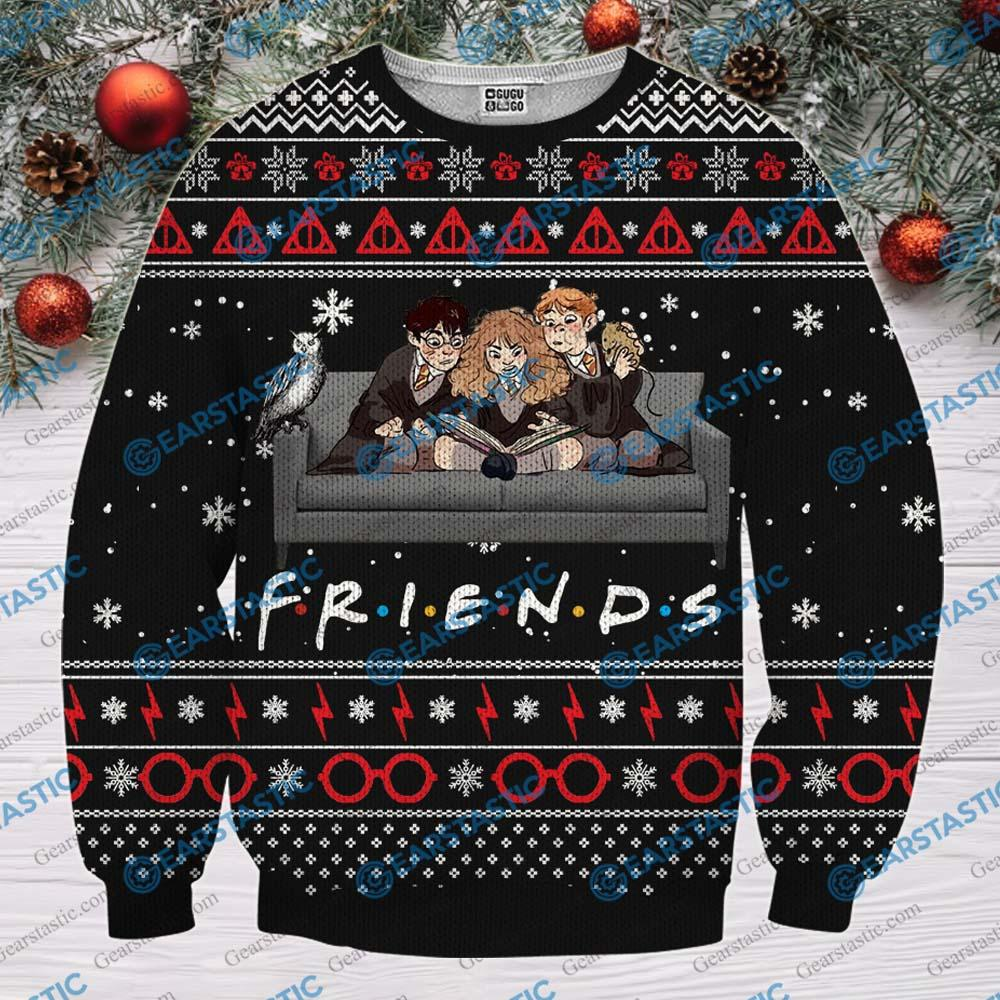 Friends tv show harry potter ugly christmas sweater - black