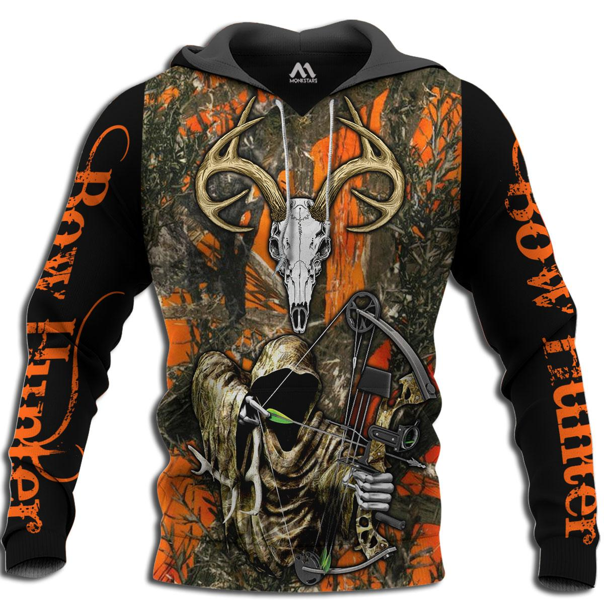 Grim reaper bow hunter camo 3d all over printed hoodie - maria