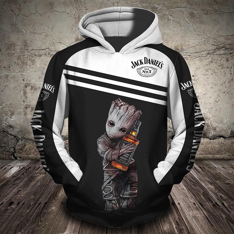 Groot hugging jack daniel's 3d hoodie
