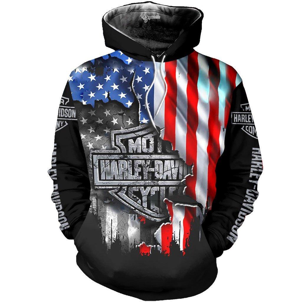 Harley davidson american flag 3d all over printed hoodie - maria