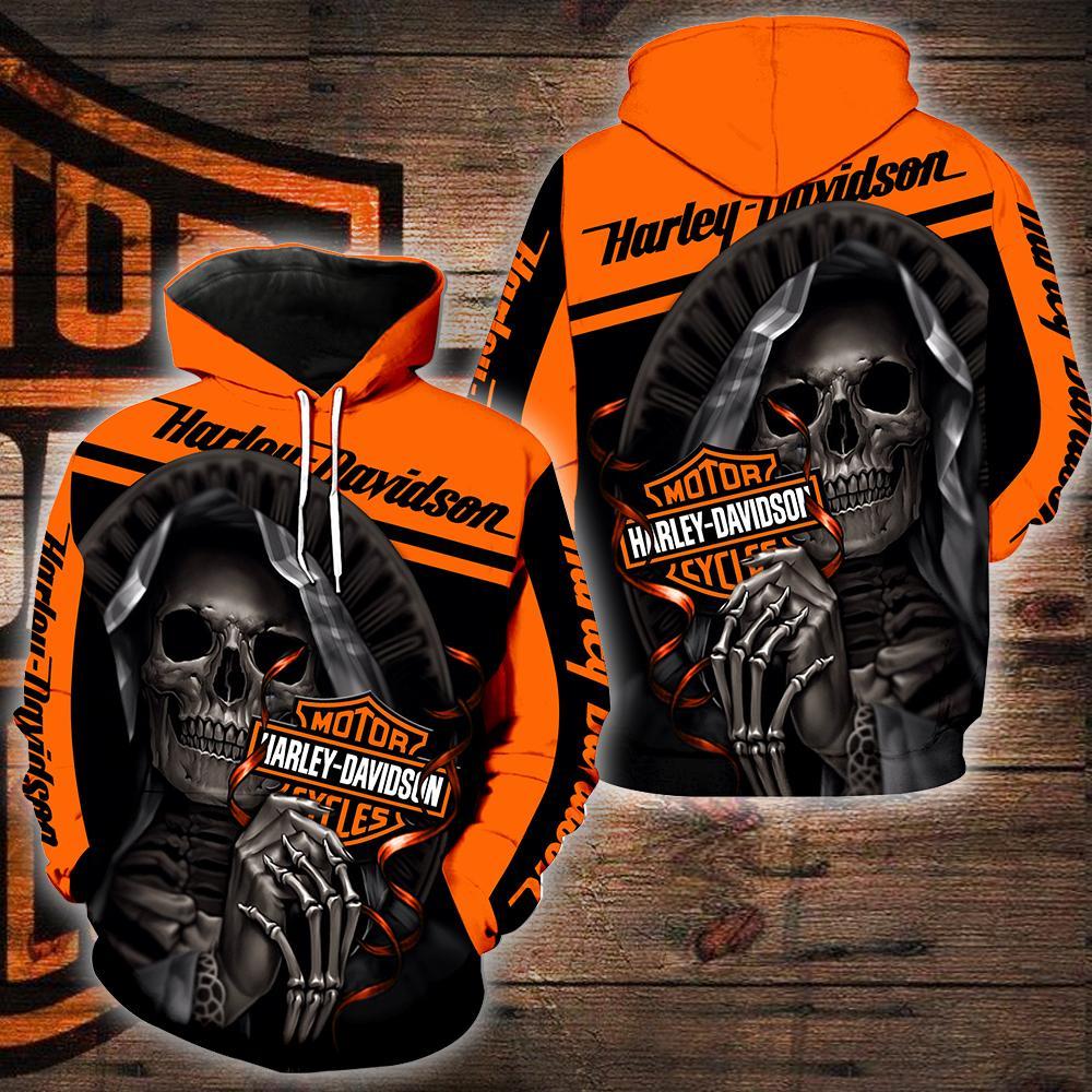 Harley-davidson motorcycle skull 3d hoodie