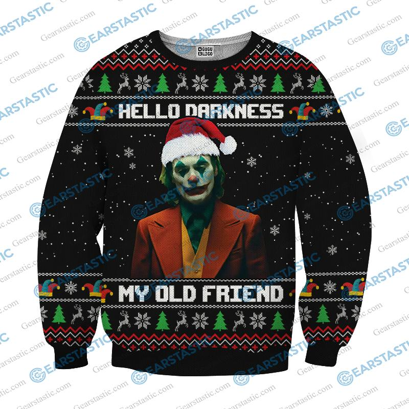 Hello darkness my old friend joker ugly christmas sweater - black