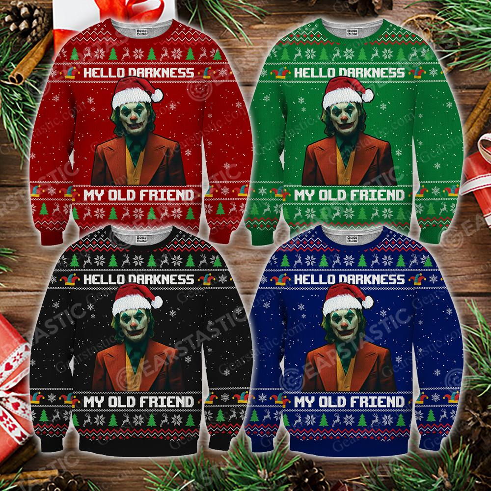 Hello darkness my old friend joker ugly christmas sweater - maria