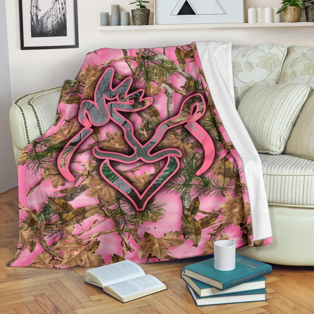 Her buck his doe pink camo blanket - maria
