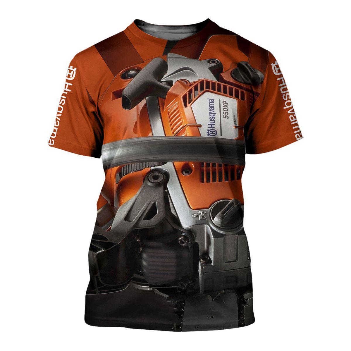 Husqvarna chainsaw all over printed tshirt