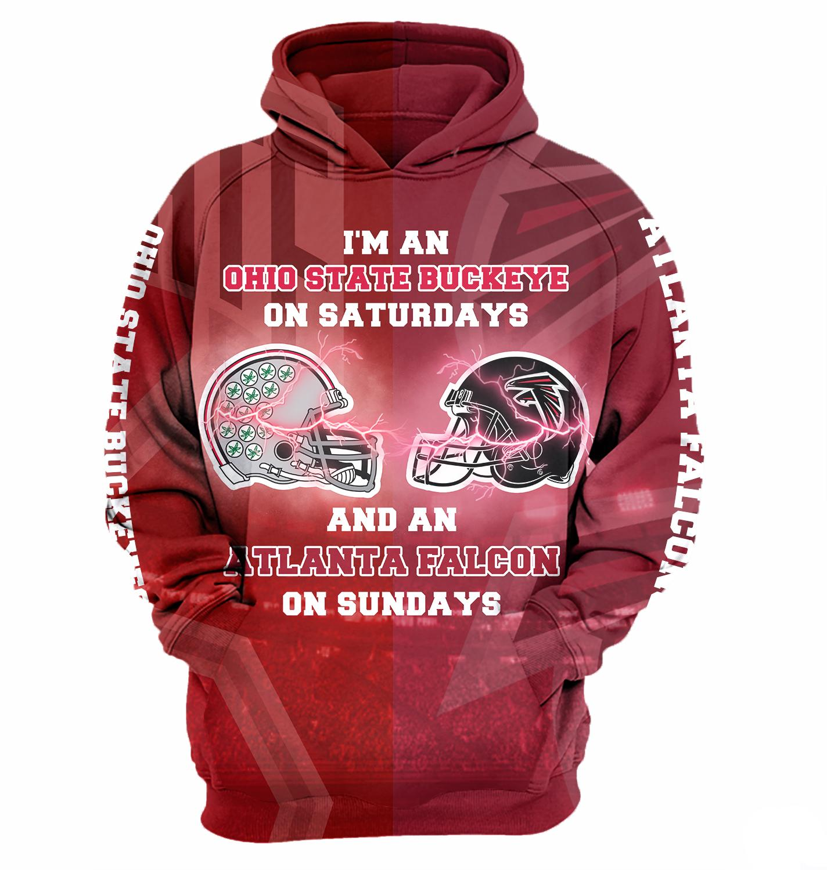 I'm a ohio state buckeyes on saturdays and an atlanta falcons on sundays 3d hoodie - maria