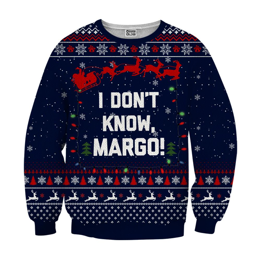 I don't know margo ugly christmas sweater - navy