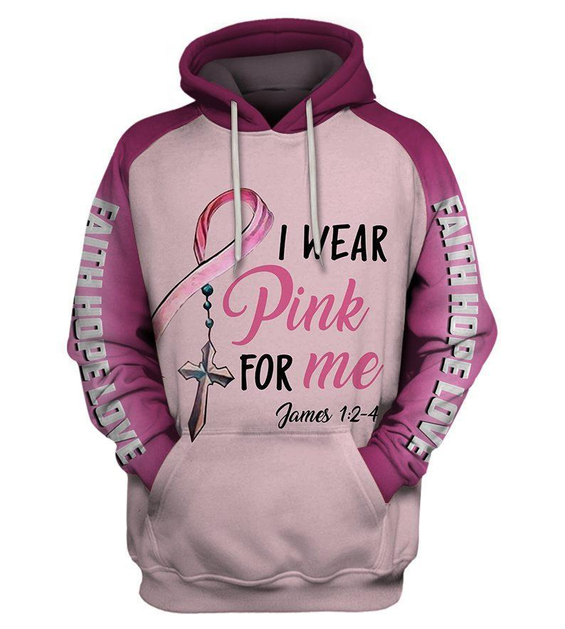 I wear pink for me breast cancer awareness 3d hoodie - maria