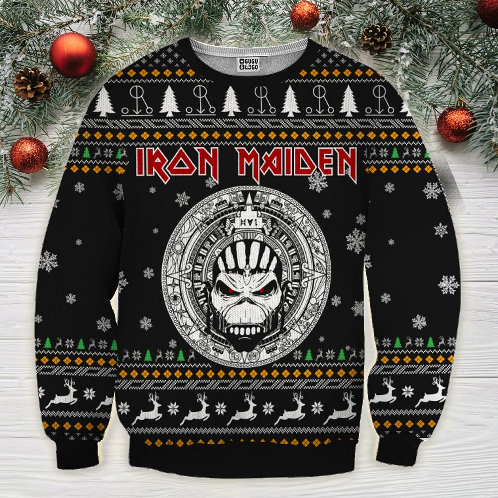 Iron maiden ugly christmas sweater - black