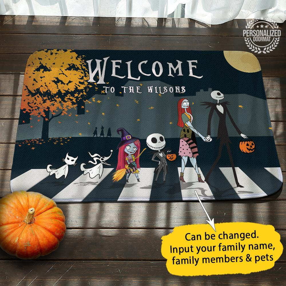 Nightmare before christmas jack and sally personalized doormat - 1