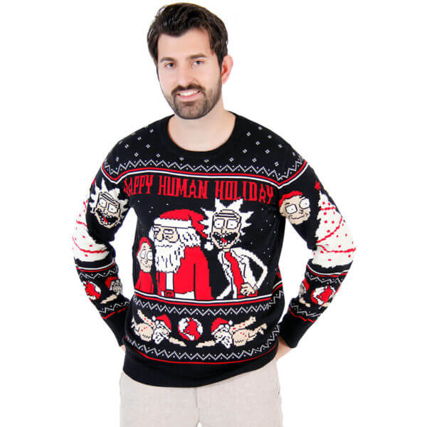 Rick and morty happy human holiday ugly christmas sweater - front