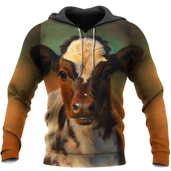 The beautiful cow all over print hoodie - maria