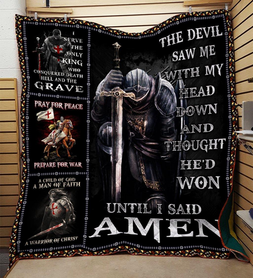 The devil saw me with my head down knight templar blanket - maria