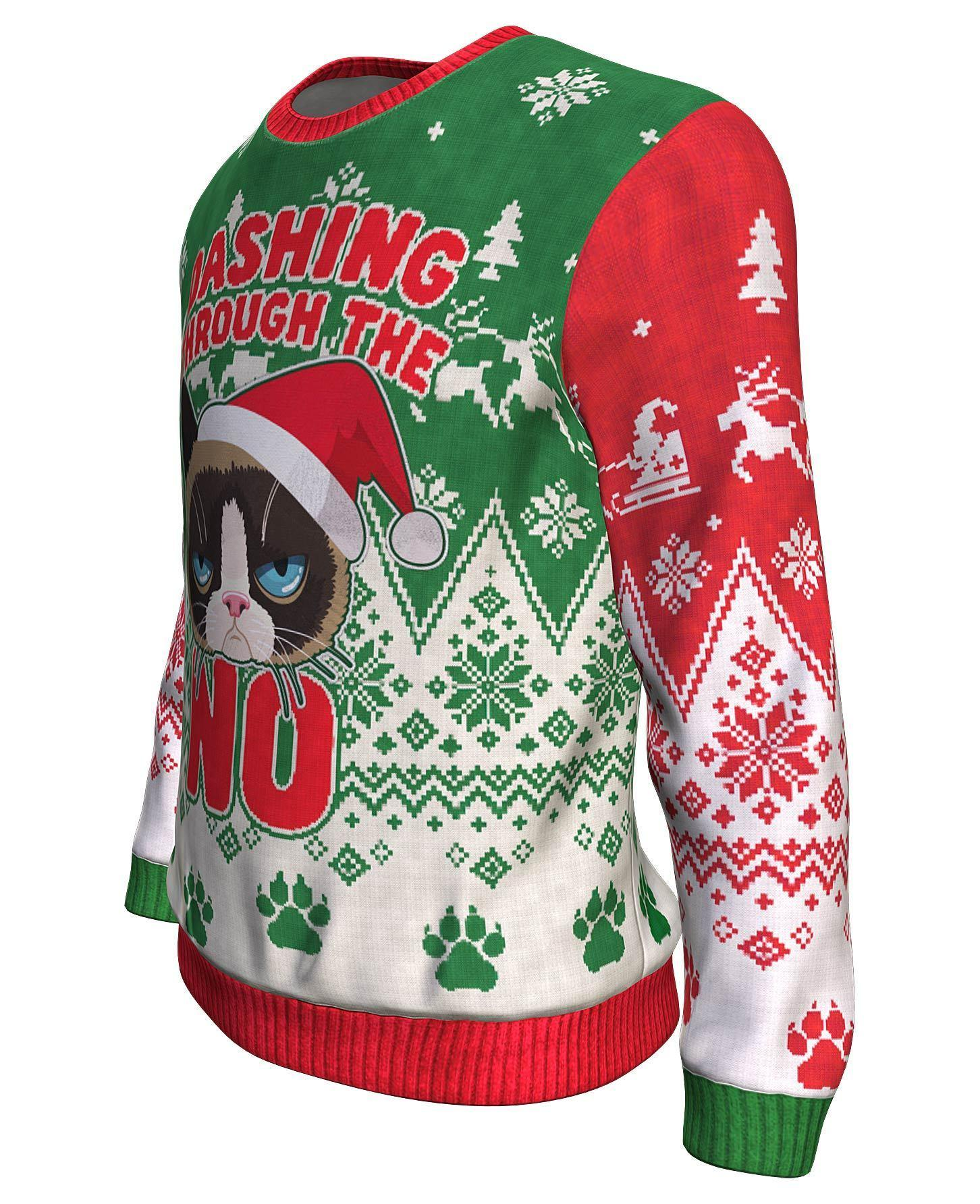 The grumpy cat dashing through the no all over print sweater - maria 2