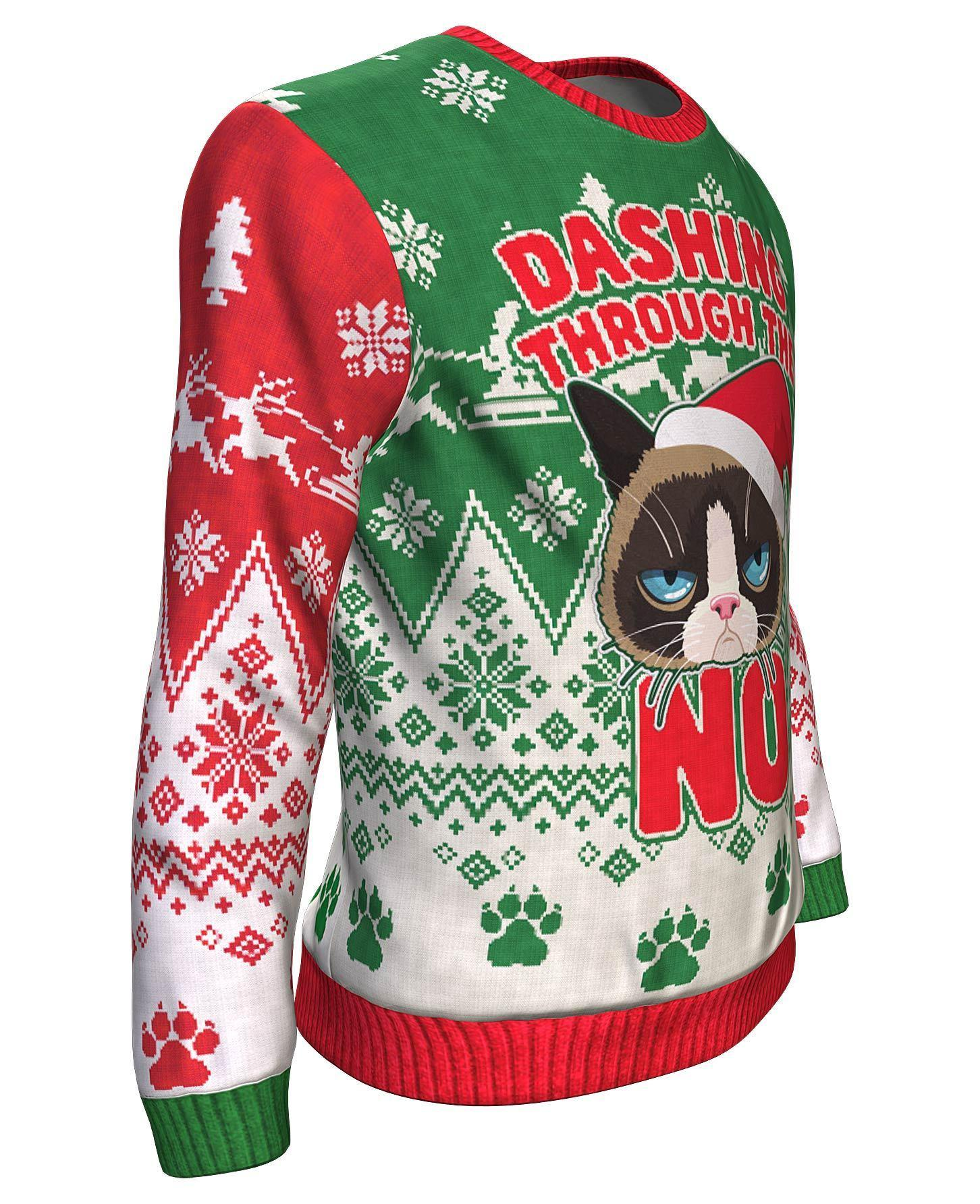 The grumpy cat dashing through the no all over print sweater - maria 3
