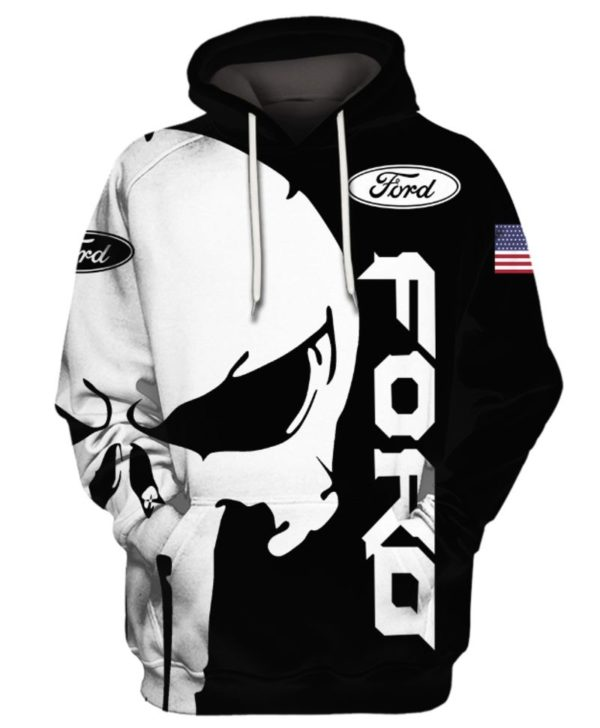 Punisher skull Ford 3d hoodie - HOTHOT 261019
