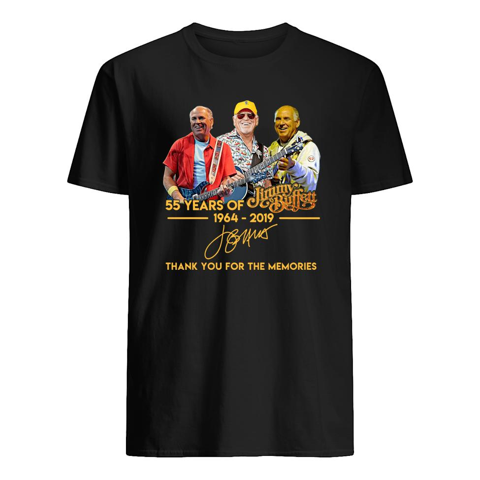 55 years of jimmy buffett 1964–2019 thank you for the memories shirt