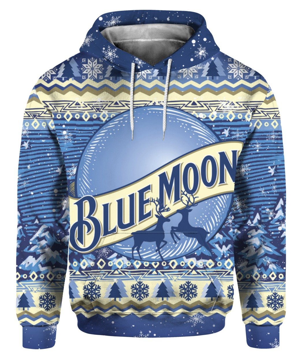 Blue moon beer bottle full printing ugly christmas sweater - maria