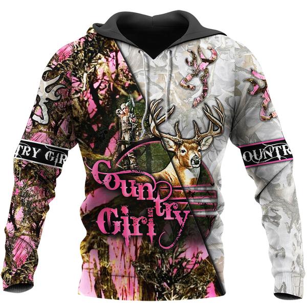 Country girl deer pink all over print hoodie - maria