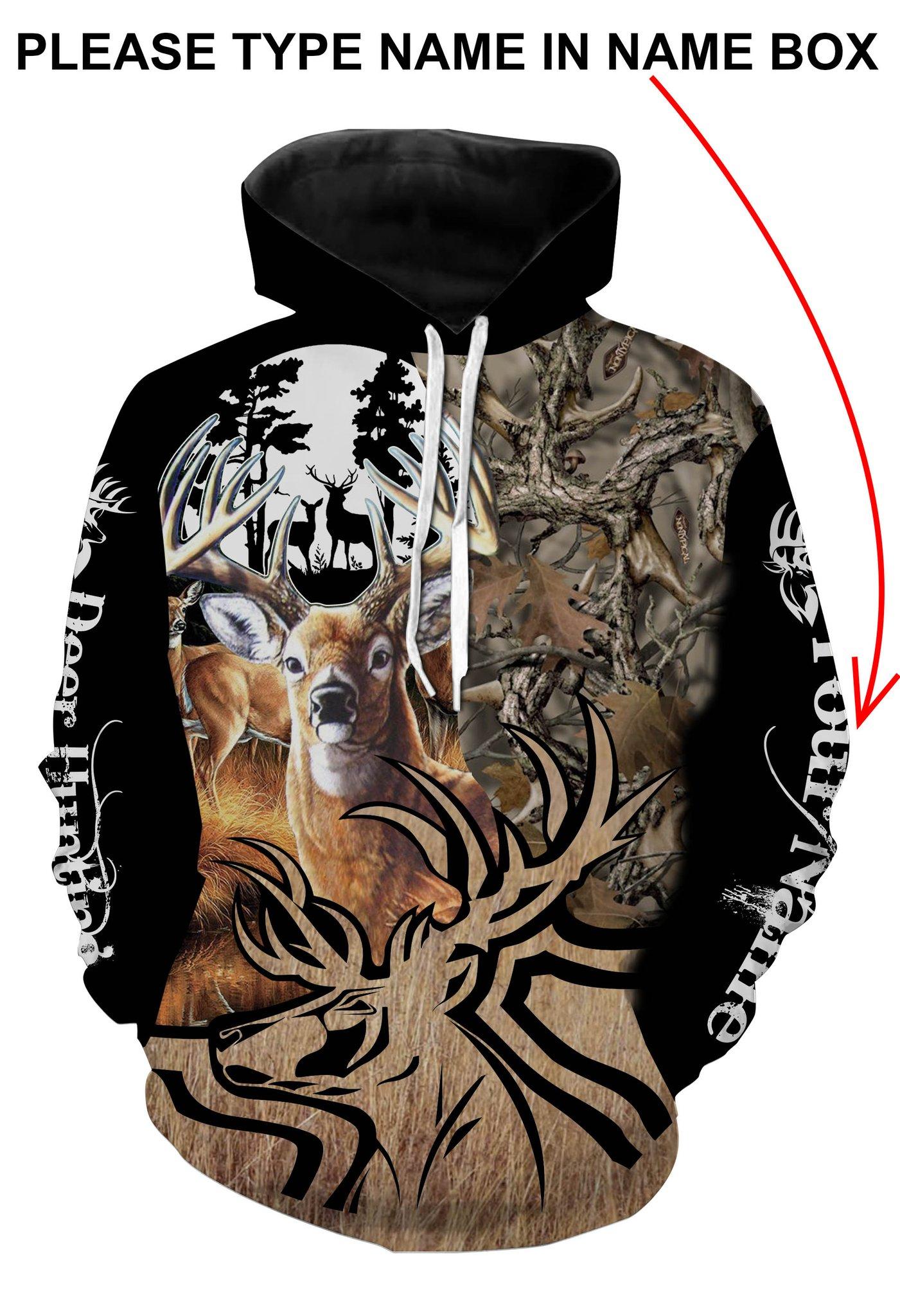 Deer hunting personalized full printing hoodie - maria