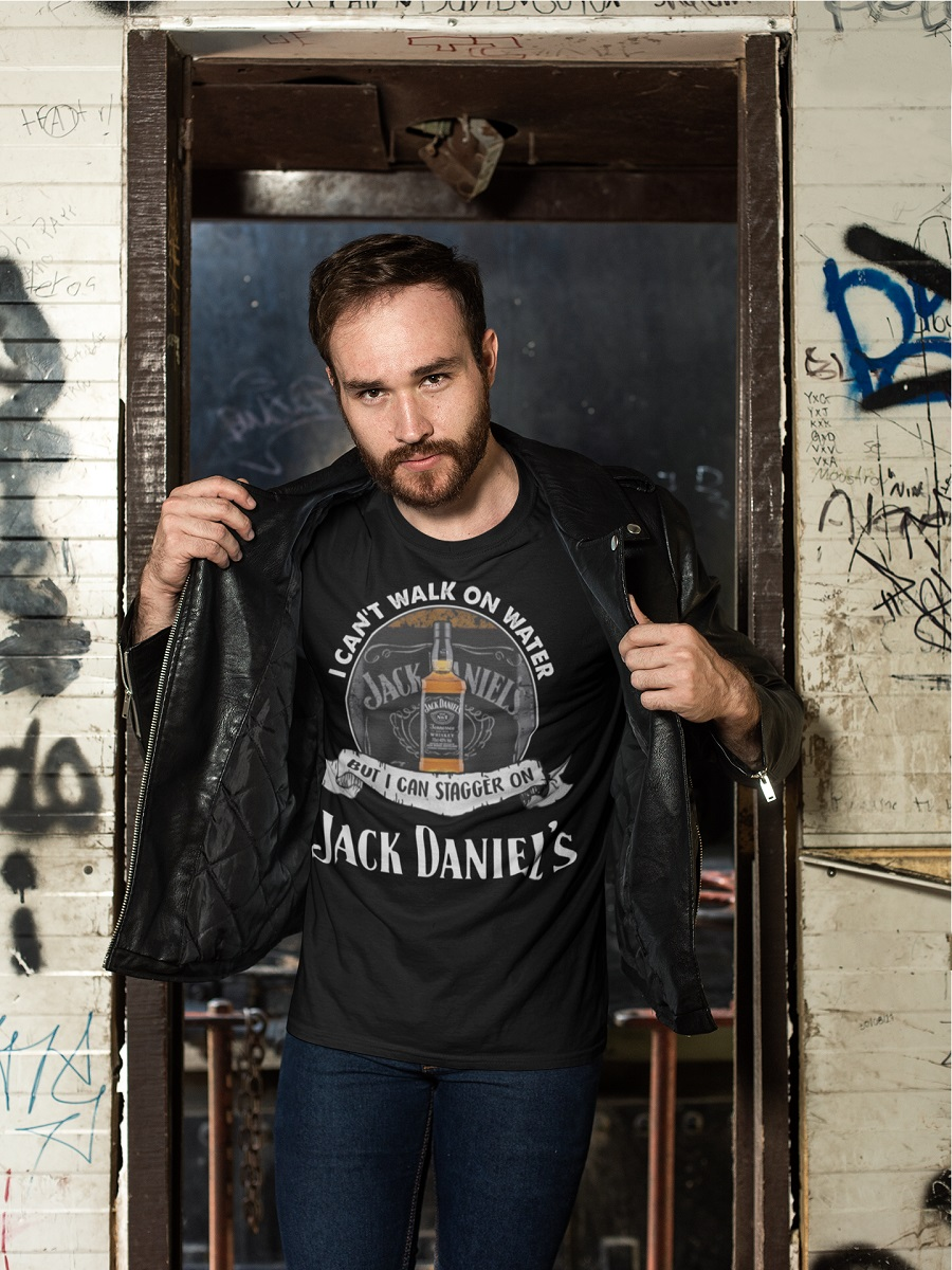 I can't walk on water but I can stagger on jack daniels shirt