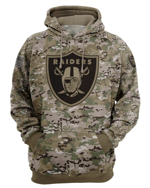 Oakland Raiders Camo Style All Over Print Hoodie