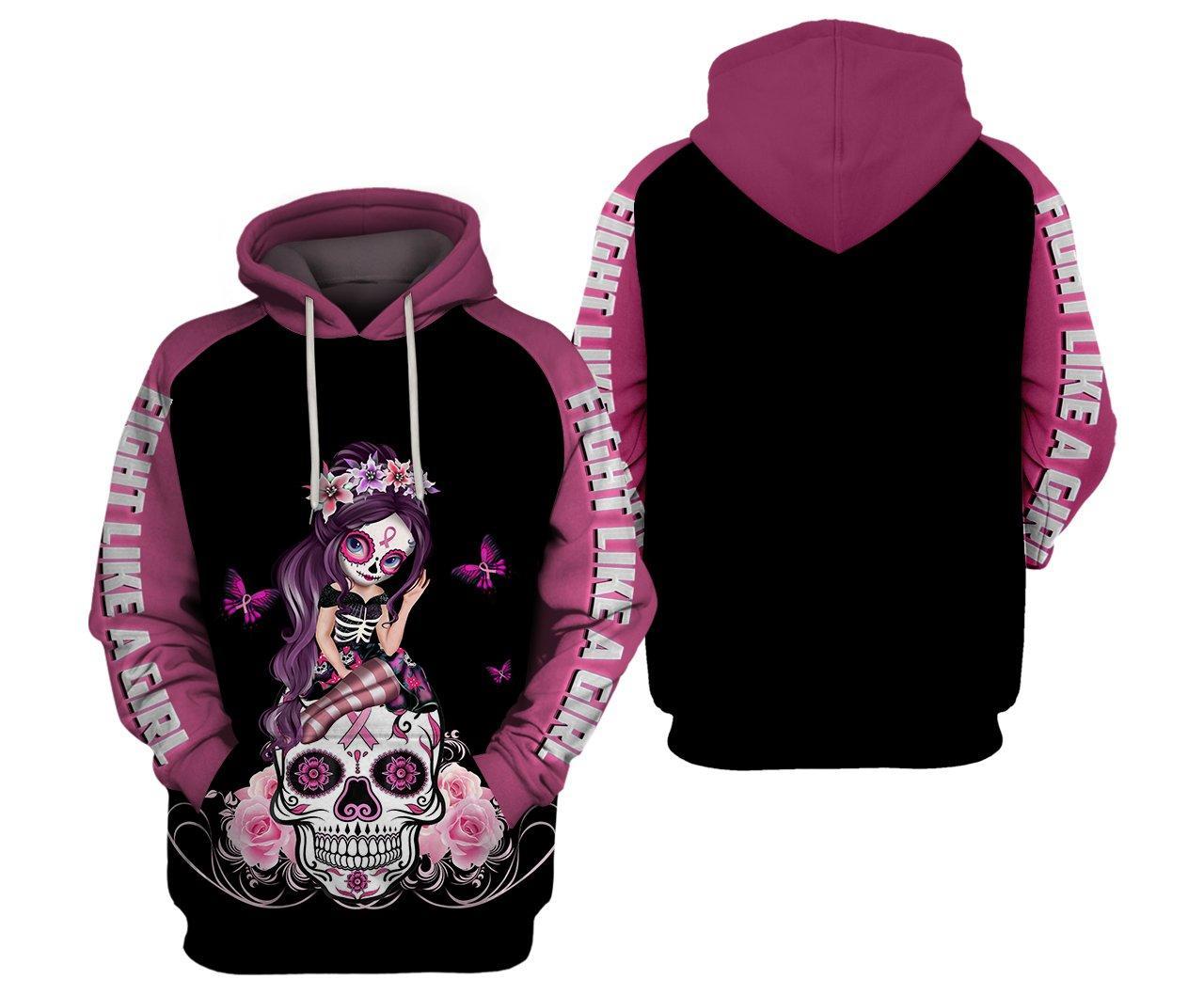 Sugar skull fairy fight like a girl breast cancer awarenes 3d hoodie - maria