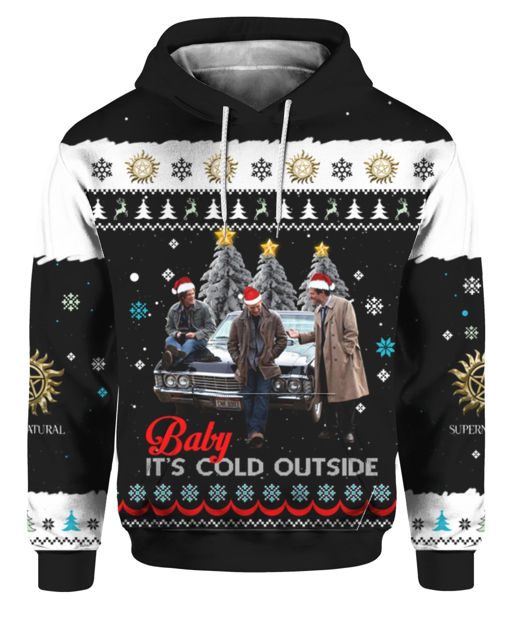 Supernatural baby it's cold outside ugly christmas sweater - maria