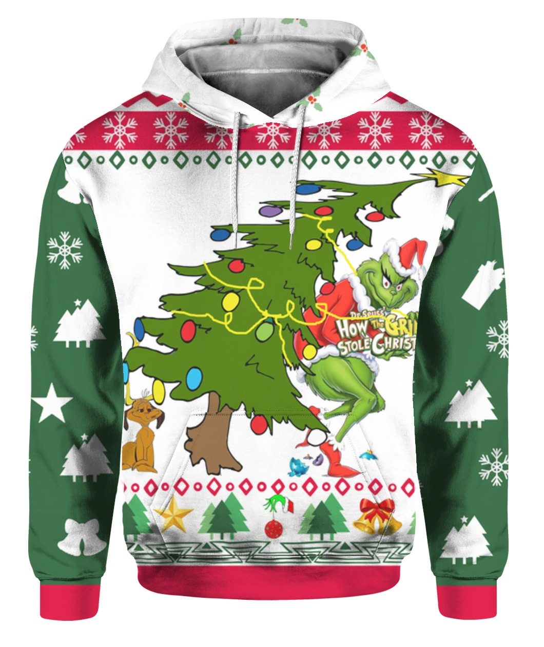 The grinch stole christmas tree full printing ugly christmas sweater - maria